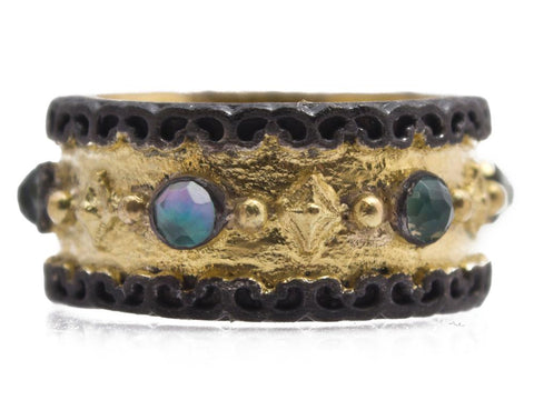 18K Gold & Oxidized Sterling Silver, Peruvian Opal, White Mother Of Pearl, White Quartz Triplet Wide Band Ring