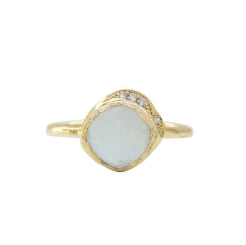 14K Gold Rose Cut Aquamarine & White Brilliant Diamond Mini Cove Ring