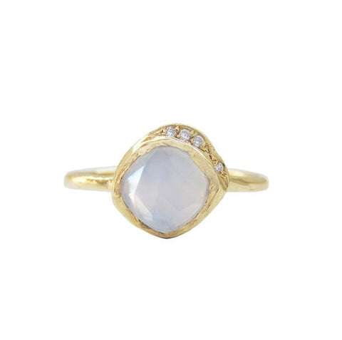 14K Gold Rose Cut Lavender Chalcedony & White Brilliant Diamond Ring