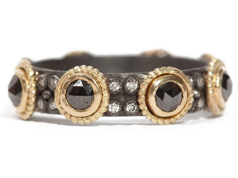 18K Gold, Oxidized Sterling Silver, Rose-Cut Black Sapphire & White Diamond Ring