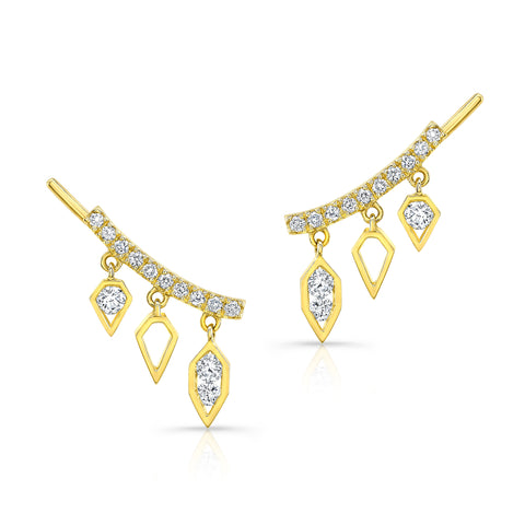 14K Gold Diamond Drop Crawler Earrings