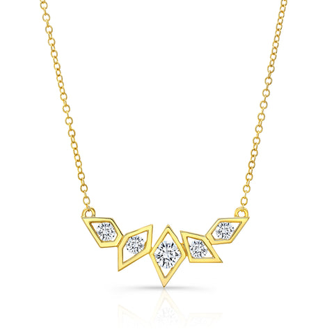 14K Gold Diamond Birds of Paradise Necklace