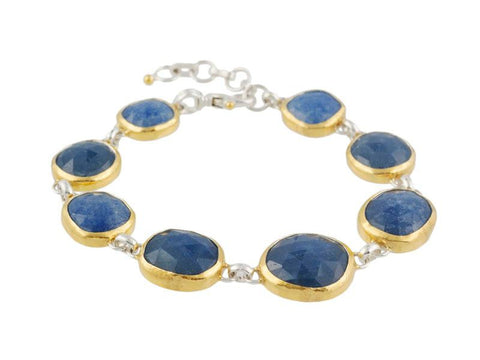Sterling Silver & 24K Gold Amorphous Rose Cut Blue Quartz Bracelet