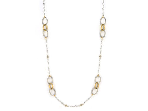 18K Gold & Sterling Silver, Diamonds, Long Loopy Chain Necklace