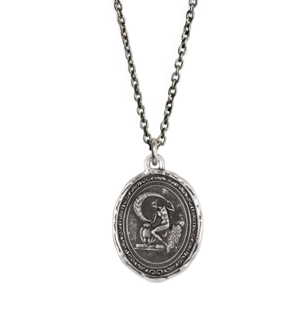 "Athena Goddess Talisman Necklace, sterling silver, 18"" cable chain"