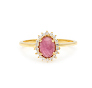Mini Antiquity - Gold Plate Pink Sapphire & CZ Ring