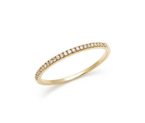 14K Gold Diamond Dainty Band