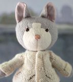 Gracie Cat in Clay Overalls & Ivory Sweater