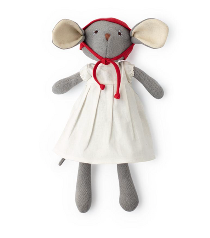 Catalina Mouse in White Linen Dress & Bonnet