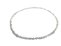Sterling Silver Ridged Rondelle Necklace