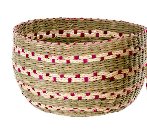 Villa Seagrass Basket, Small Pink