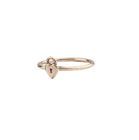 14k Gold Heart Lock Symbol Ring