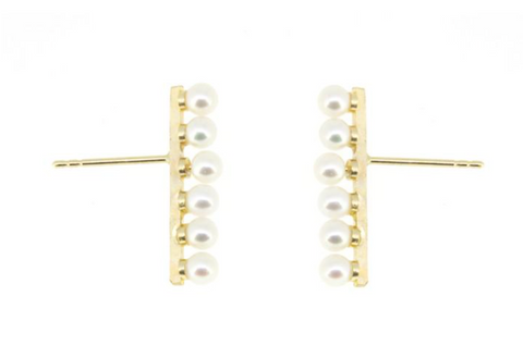 14K Yellow Gold 6 Baby Pearl Bar Stud Earrings