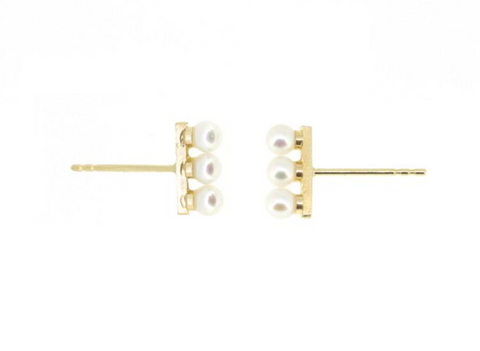 14K Yellow Gold 3 Pearl Bar Stud Earrings