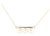 14K White Gold Triple Pearl Necklace