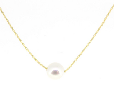 14K Yellow Gold Pearl Solitaire Necklace