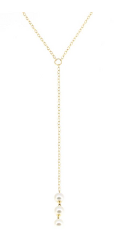 14K Yellow Gold Triple Pearl Lariat
