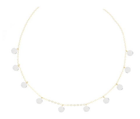 14K Yellow Gold Confetti With 14K White Gold Disc Necklace