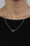 Sterling Silver & Diamond, Horizontal 'Tiny Wheel With Stix' Necklace