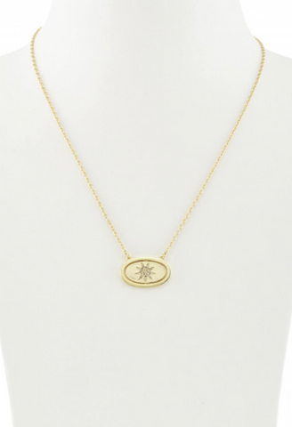 14K Gold Plate, Pave CZ, You Are My Sunshine Flip Pendant Necklace