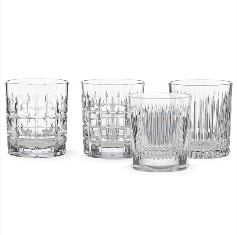 New Vintage 4-piece Double Old Fashioned Glass Set