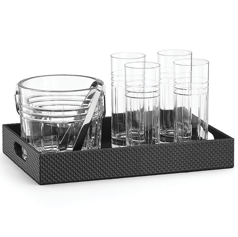 Tempo Crystal Bar Set With Tray