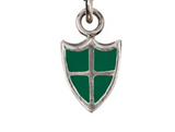 Sterling Silver Deep Green Protection Color Shield Charm