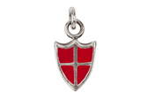 Sterling Silver Crimson Protection Color Shield Charm