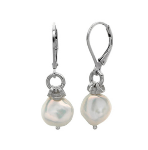 Sterling Silver Silver/Grey Keshi Pearl Fringe Earrings