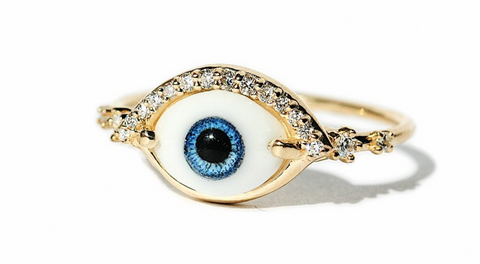 Lacrima - 14K Gold Diamond, Glass & Resin Eye Ring