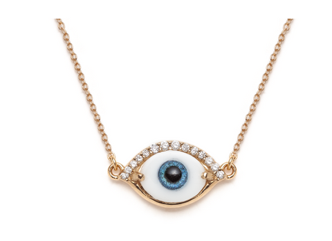 Lacrima - 14K Gold Diamond, Glass & Resin Eye Necklace