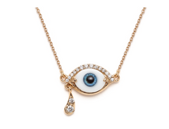 Weeping Lacrima - 14K Gold Diamond, Glass & Resin Eye Necklace