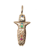 Ajpu - 14K Gold Blue, Yellow, Orange Sapphire, Topaz, Emerald & Ruby Worry Doll Necklace