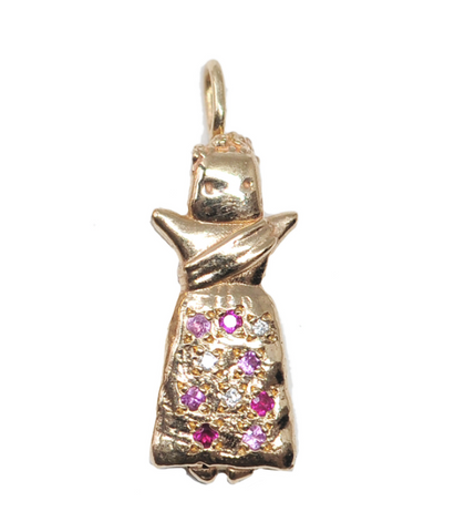 Ix - 14K Gold Pink Sapphire, Ruby, Diamond Worry Doll Necklace