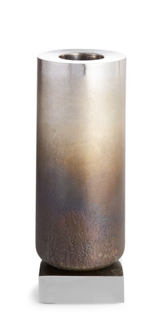 Torched Metal Vase, Medium