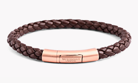 Rose Gold Plate, Brown Ziggy Leather, Charles Small Bracelet