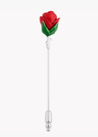Sterling Silver, Painted Long Rose Lapel Pin