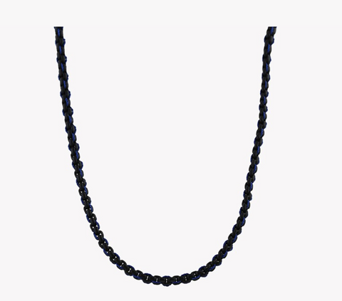 Stainless Steel, Black Lacquer With Navy Thread Catena Weave Necklace