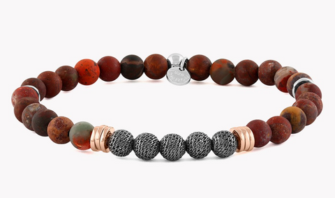 Rose Gold Plate & Sterling Silver, Ruthenium Mesh Beads, Rainbow Jasper, Stonehenge Large Bracelet