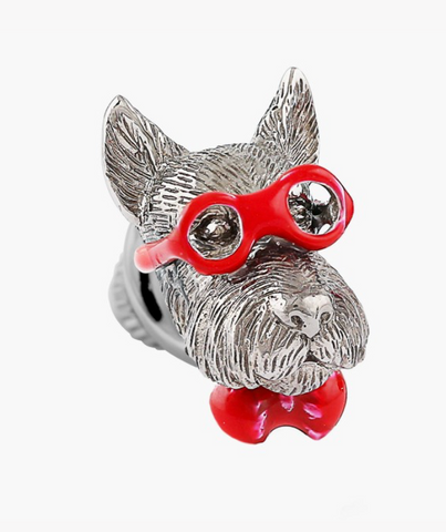 Sterling Silver With Red Enamel Scottish Terrier Pin