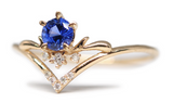 Moon Tear - 14K Gold Sapphire & Diamond Ring
