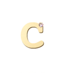 "14K Gold & 1 Diamond, Typewriter Initial ""C"" Single Stud"