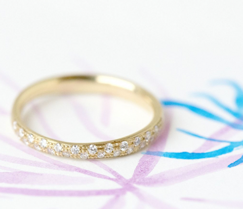 18K Yellow Gold, Pave Diamonds, Half Eternity Band