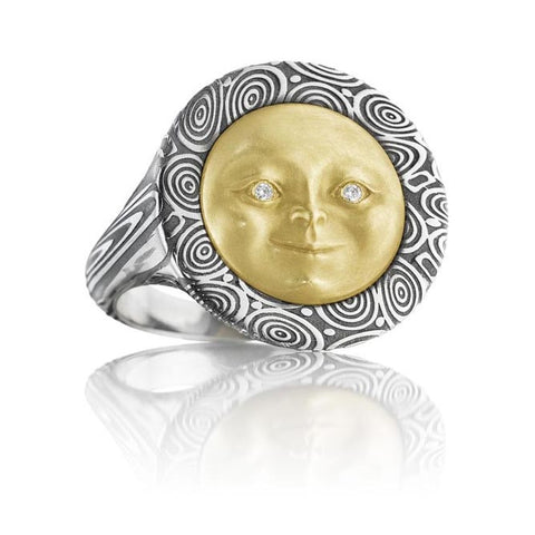18K Gold & Damascus Steel Diamond Moonface Ring