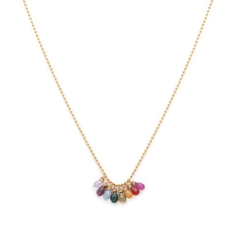 Spectrum - Gold Fill Rainbow Sapphire Necklace