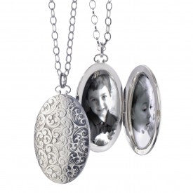 Sterling Silver Large Floral Locket Necklace