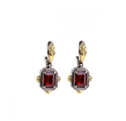 Sterling Silver & 18K Gold Garnet Rectangle Drop Earrings