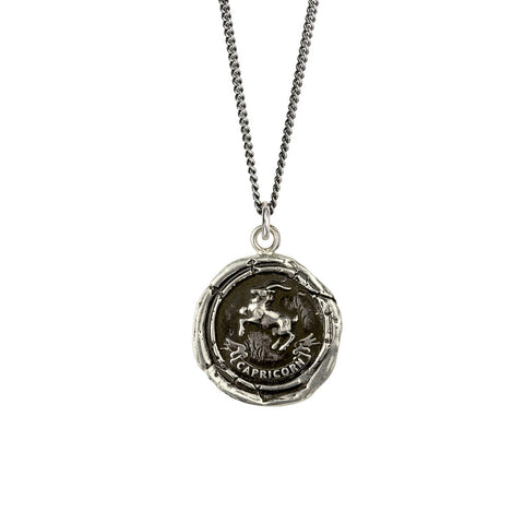 Sterling Silver Capricorn Zodiac Talisman Necklace
