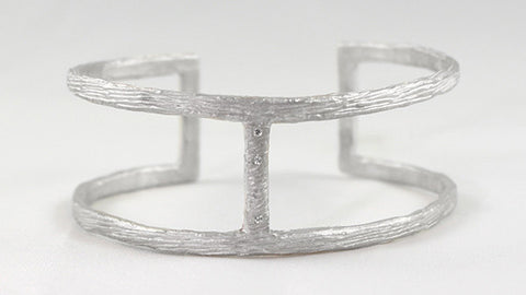 Sterling Silver Diamond Double Open Bark Branch Cuff