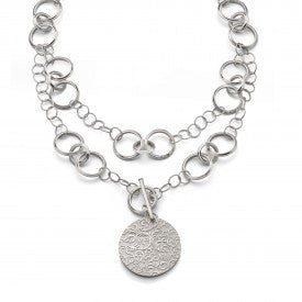 Sterling Silver Large Disc Charm with Vine Pattern Half Locket Necklace